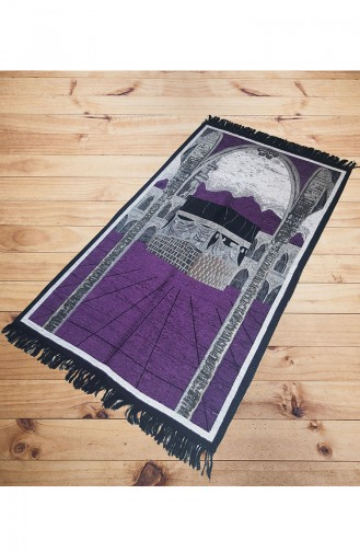 Kaaba Patterned Prayer Rug 2010-03 Purple 2010-03