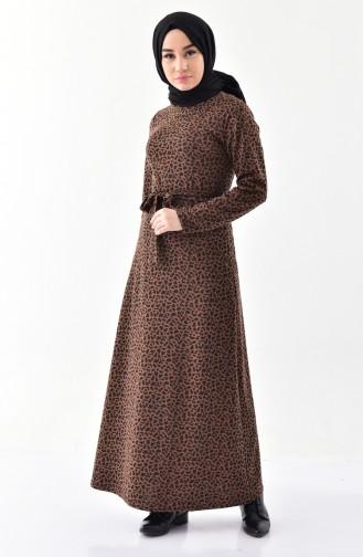 Leopard Patterned Dress 7146-01 Brown 7146-01
