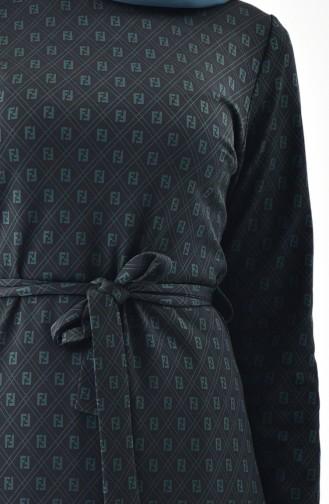 Patterned Belted Dress 7147-01 Black 7147-01
