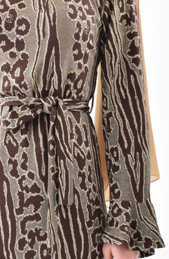 Silvery Flounce Dress   7151-02 Brown 7151-02