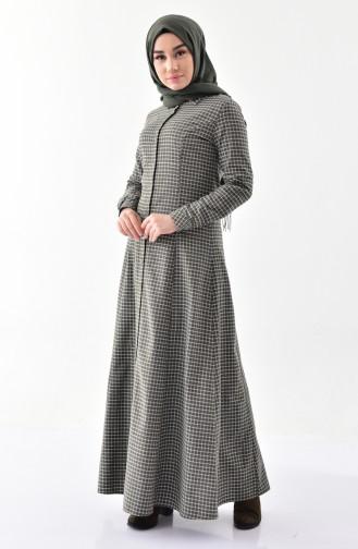 توبانور فستان بتصميم مُربعات وأزرار 3064-01 لون أخضر كاكي 3064-01