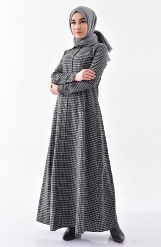Kareli Düğmeli Elbise 3064-03 Siyah 3064-03