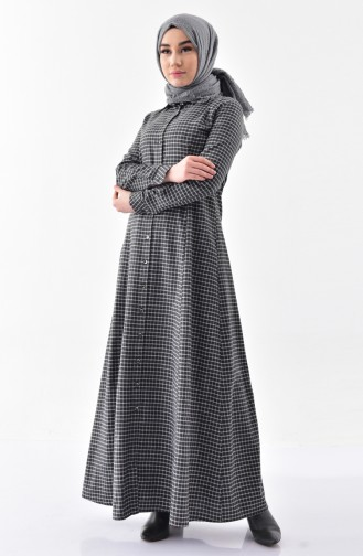 TUBANUR Checkered Buttoned Dress 3064-03 Black 3064-03