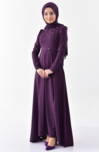 Pearly Belted Dress 0206-04 Purple 0206-04