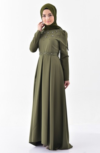 Pearl Belted Dress 0206-08 Khaki 0206-08