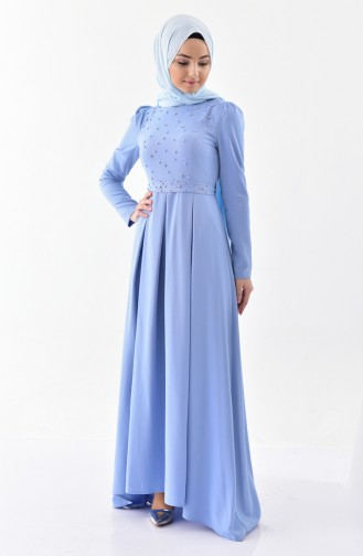 Stone Belted Dress 0207-03 Blue 0207-03