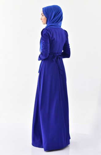 Stone Belted Dress 0207-04 Saxe 0207-04