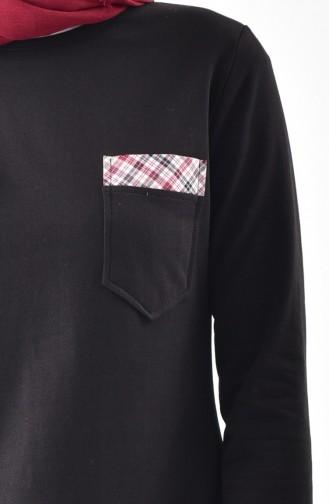 Garnili Basic Tunik 3061-08 Siyah Bordo 3061-08