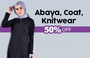 %50 Discount on Abaya,Coats, Knitwear at Checkout