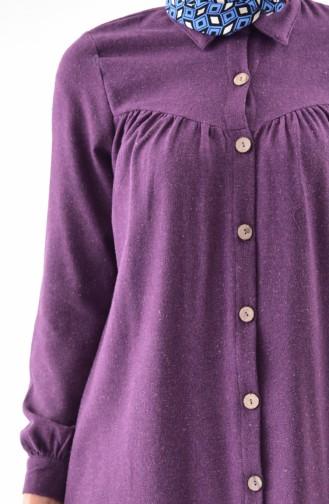 Buttoned Long Tunic 0733-01 Purple 0733-01