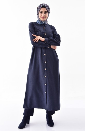 Buttoned Long Tunic 0733-03 Navy Blue 0733-03