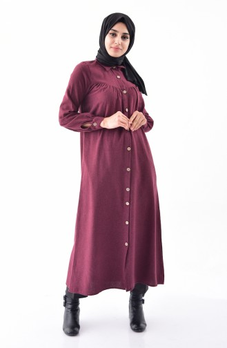 Buttoned Long Tunic 0733-04 Claret Red 0733-04
