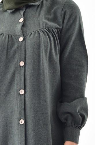 Buttoned Long Tunic 0733-05 Khaki 0733-05