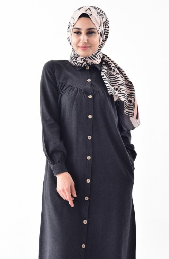 Buttoned Long Tunic 0733-06 Anthracite 0733-06