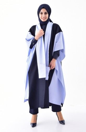 Asymmetric Cut Poncho 3141-07 Navy Blue Blue 3141-07