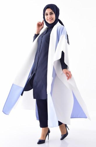 Poncho Coupe Asymétrique 3141-03 Bleu Ecru 3141-03