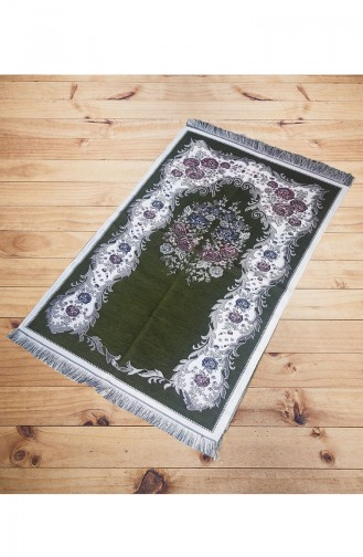 Rose Patterned Chenille Prayer Rug 2003-06 Green 2003-06