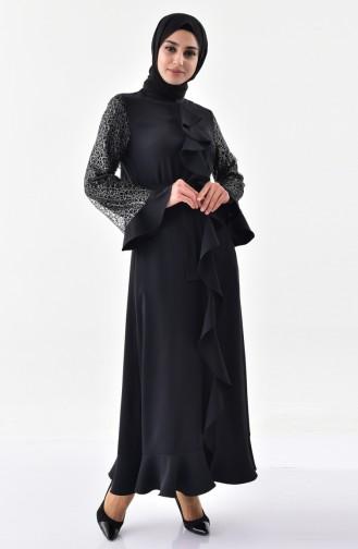 Flounce detailed Belted Abaya 0136-02 Black 0136-02