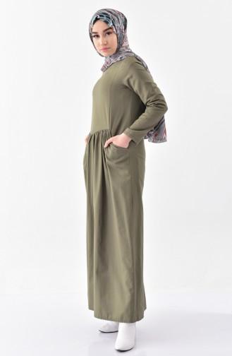 TUBANUR Pocketed Pleated Dress 2996-02 Khaki 2996-02