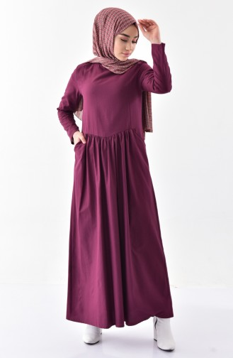 Shirred Dress with Pocket  2996-03 Damson 2996-03