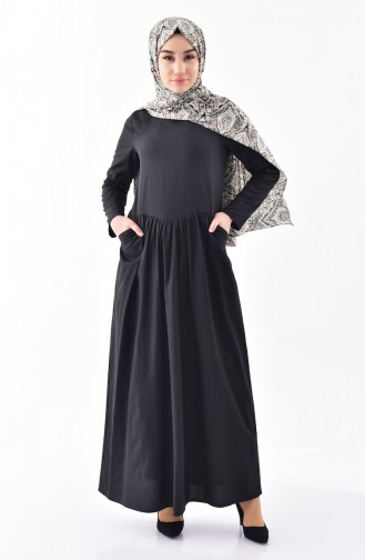 Shirred Dress with Pocket  2996-04 Black 2996-04