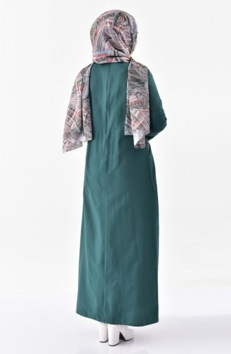 TUBANUR Pocketed Pleated Dress 2996-06 Emerald Green 2996-06