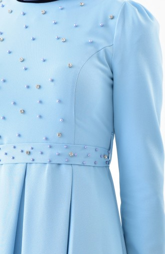 Stone Belted Dress 0207-08 Baby Blue 0207-08