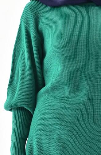 Baloon Sleeve Knitwear Tunic 2124-11 Emerald Green 2124-12