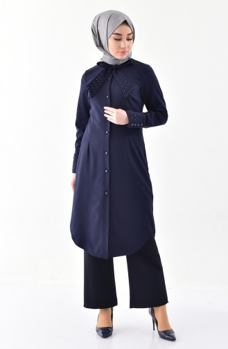 Tie Collar Pearl Tunic 3008-02 Navy Blue 3008-02