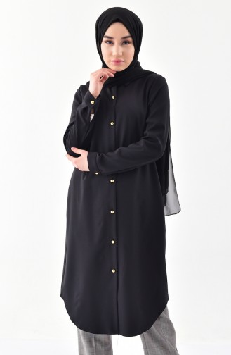 Shirt Collar Buttoned Tunic 3010-04 Black 3010-04