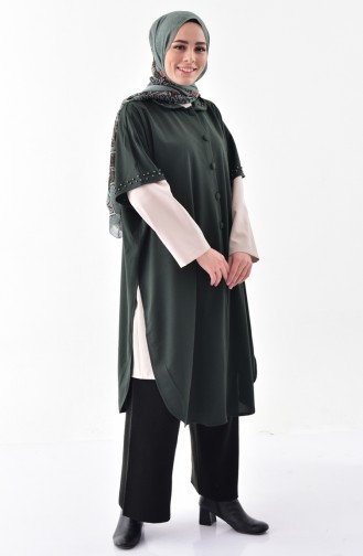 Poncho a Boutons et Perles 1001-01 Vert 1001-01