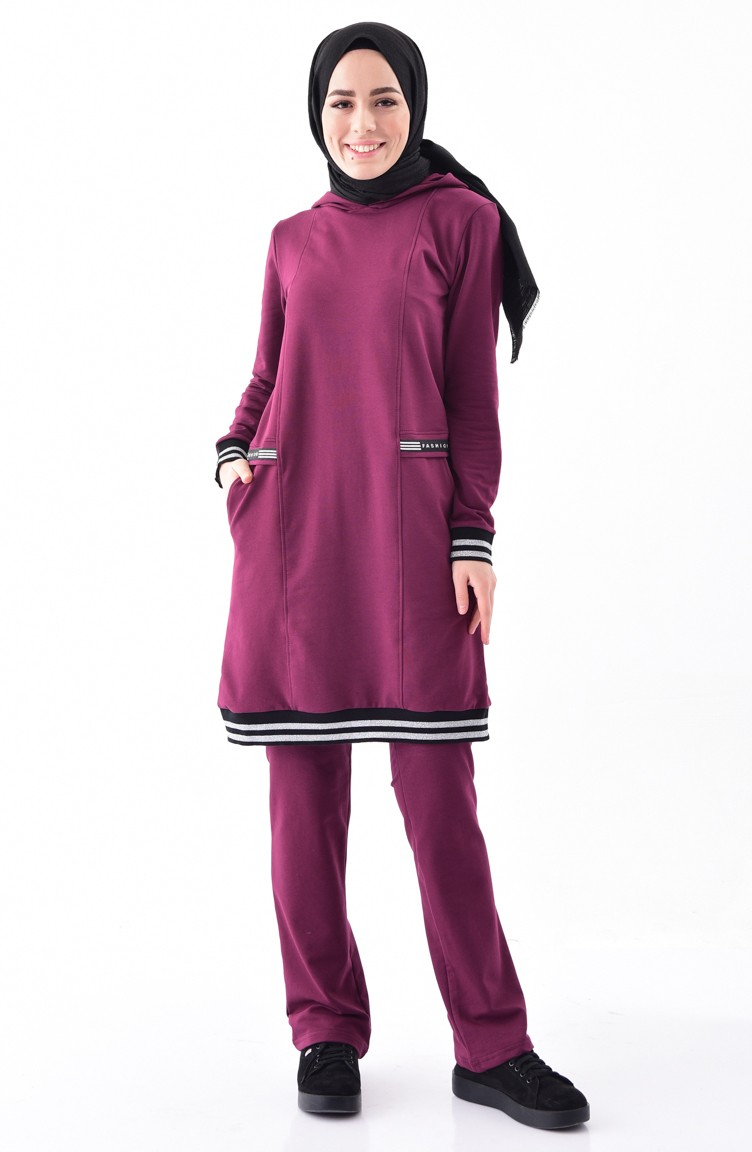2137f910babf Sefamerve Hooded Tracksuit Suit 1410-04 Purple 1410-04