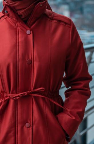 معطف مُبطن بتفاصيل جيوب 6002-05 لون قرميدي 6002-05