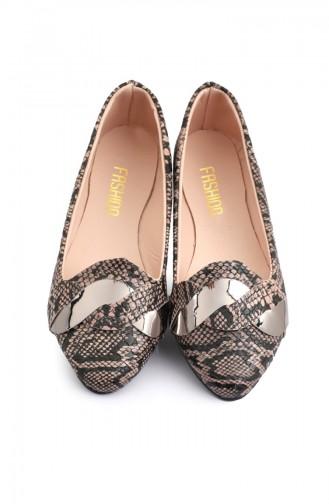 Womens Knit Patterned Flat shoe 6558-8 Brown 6558-8