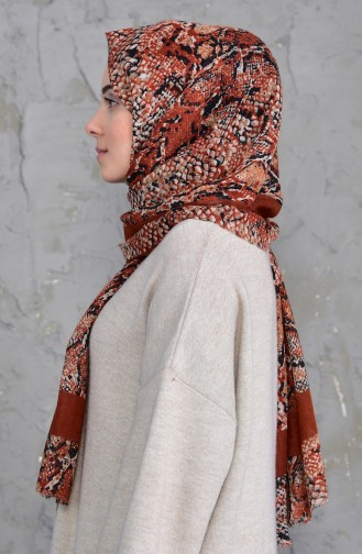 Patterned Flamed Cotton Shawl 2158-02 Cinnamon 2158-02