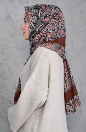 Patterned Flamed Cotton Shawl 2158-06 Brown Taba 2158-06