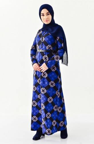 Button detailed Belted Dress 4059-01 Saxe 4059-01