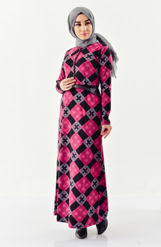 Button detailed Belted Dress 4059-02 Fuchsia 4059-02