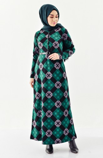 YNS Button detailed Belted Dress 4059-04 Green 4059-04