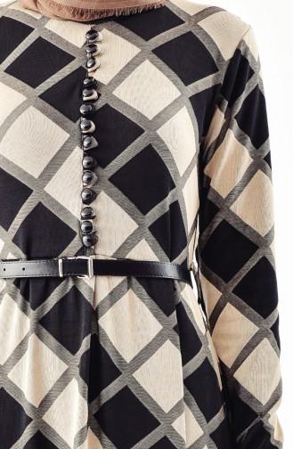 Button Detailed belted Dress 4059A-01 Beige 4059A-01