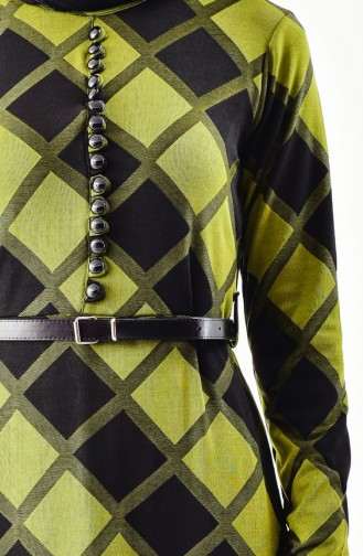 YNS Button Detailed Belted Dress 4059A-03 Khaki 4059A-03