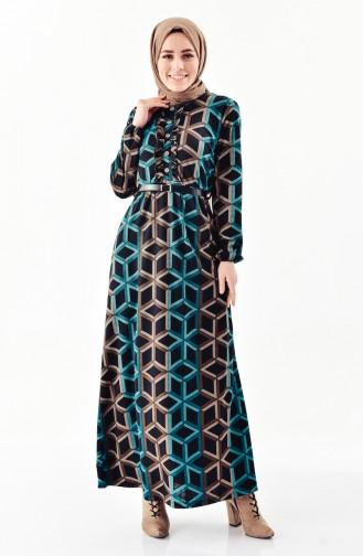 Belted Frilled Dress  4060-01 Black Oil green 4060-01