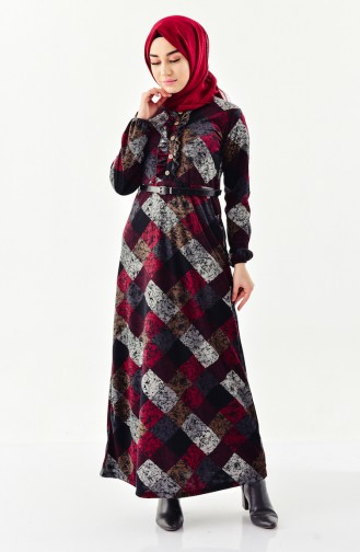 Belted Frilled Dress 4060A-01 Black  Claret red 4060A-01