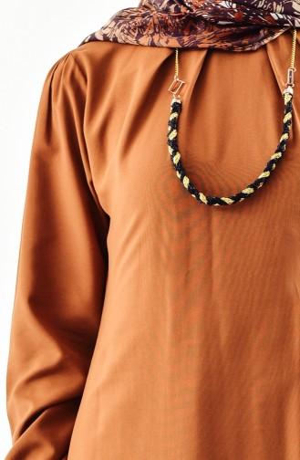 Buglem Garni Detailed Necklace Tunic 1185-07 Tobacco 1185-07