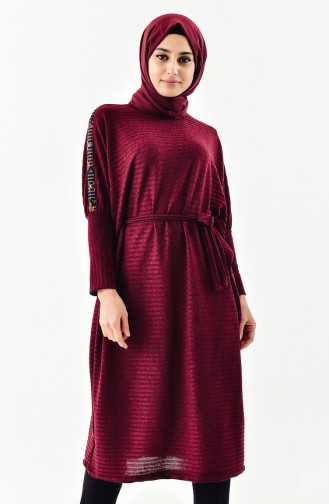 Ethnic Patterned Tricot Tunic 4042-02 Burgundy 4042-02