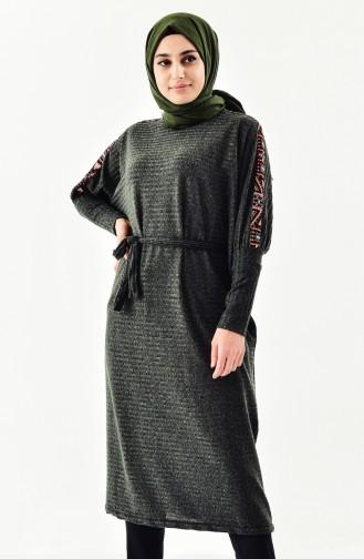 Ethnic Patterned Tricot Tunic 4042-03 Khaki 4042-03