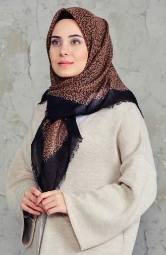 شال قطن بتصميم مطبع 2156-03 لون اسود وبني فاتح 2156-03
