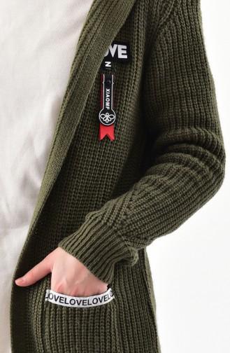 كارديجان موصول بقبعة بتصميم مُحاك 8048-01 لون اخضر كاكي 8048-01