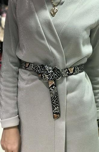 Women´s Snake skin Belt IM02-12 Black White Taba 02-12