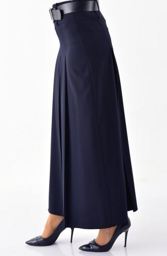 BURUN Belted Trousers Skirt 31243-02 Navy Blue 31243-02
